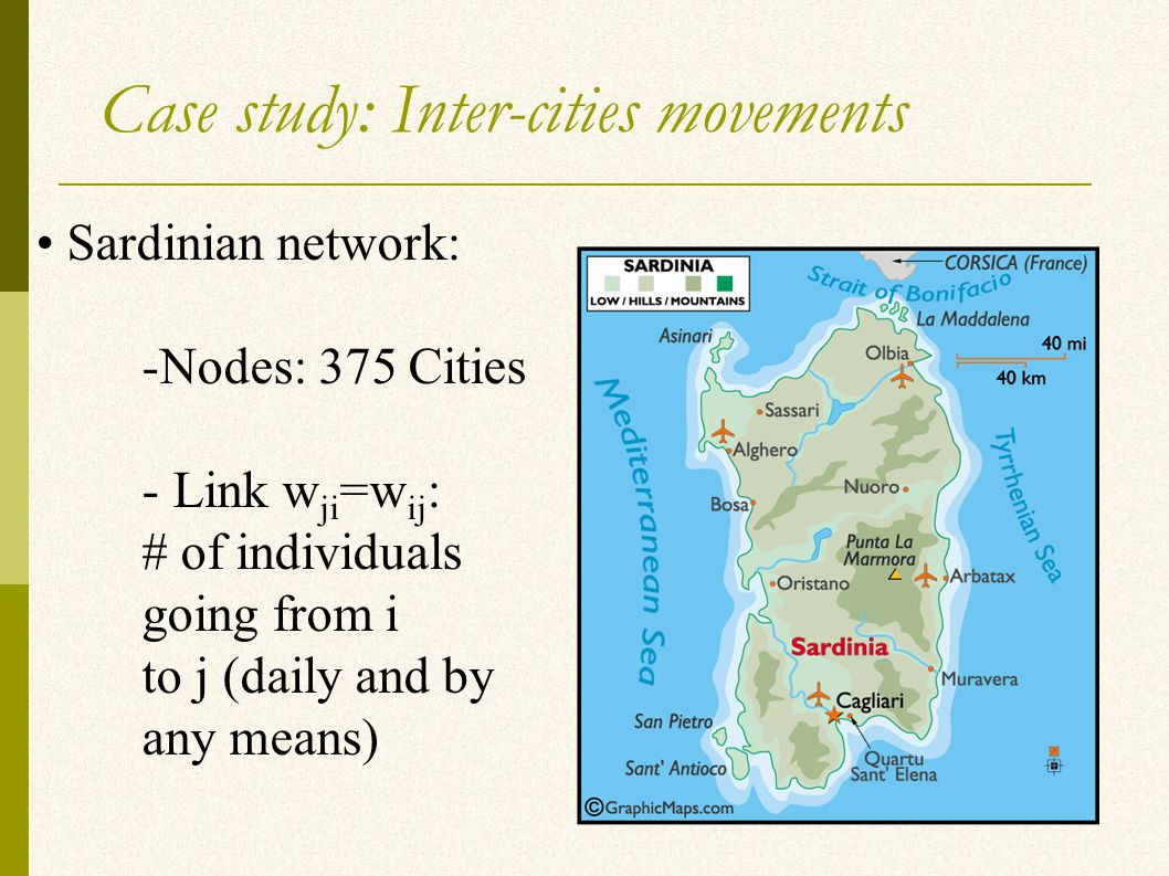 Case study: Inter-cities movements Sardinian network: -Nodes: 375 Cities - Link w ji =w ij : # of individuals going from i to j (daily and by any means)