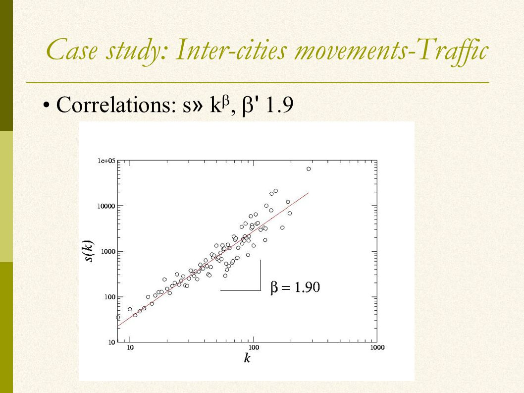Case study: Inter-cities movements-Traffic Correlations: s » k ,  1.9