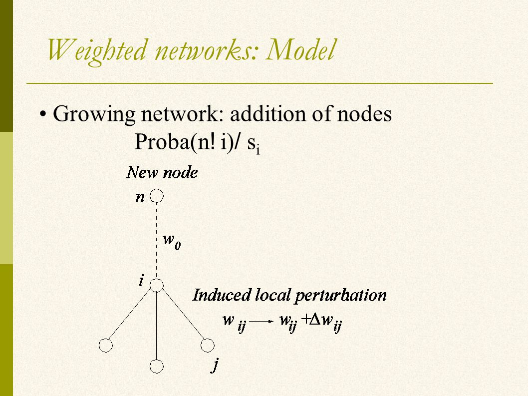 Weighted networks: Model Growing network: addition of nodes Proba(n ! i) / s i