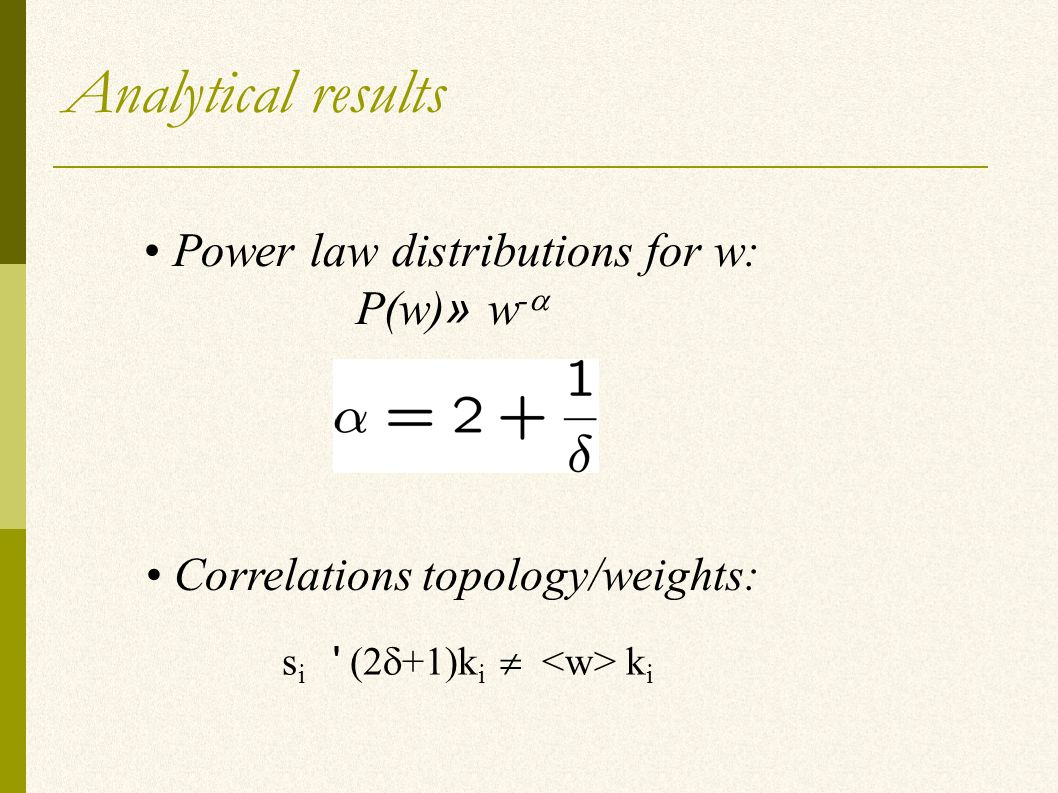 Analytical results Power law distributions for w: P(w) » w -  Correlations topology/weights: s i (2  +1)k i  k i