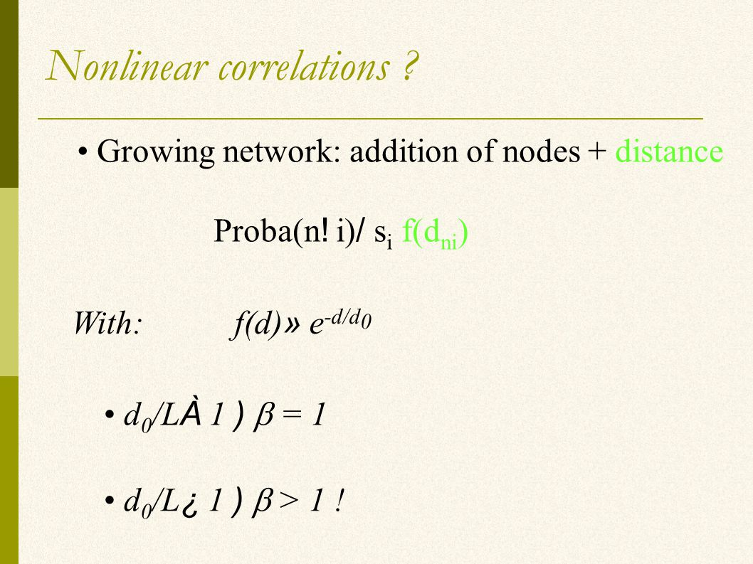 Nonlinear correlations . Growing network: addition of nodes + distance Proba(n .
