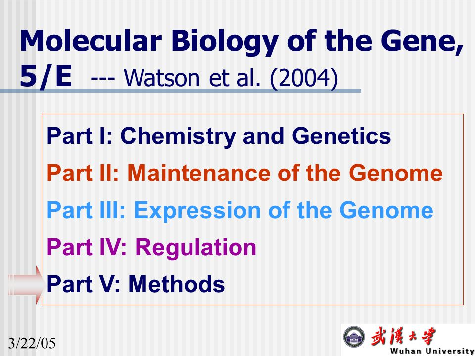 Molecular Biology of the Gene, 5/E --- Watson et al. (2004) Part I: Chemistry and Genetics Part II: Maintenance of the Genome Part III: Expression of
