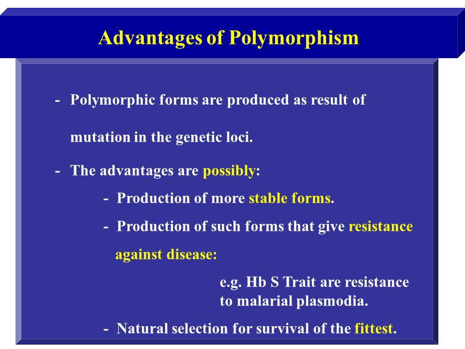 -Polymorphic forms are produced as result of mutation in the genetic loci. -The advantages are possibly: - Production of more stable forms. - Producti