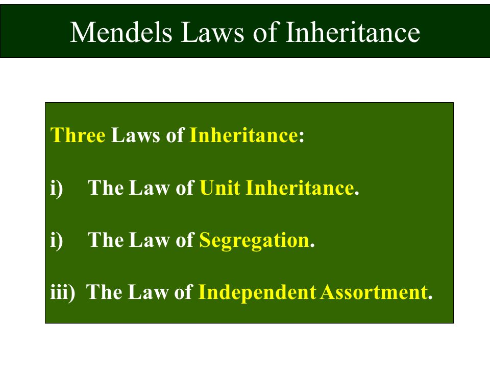 Mendels Laws of Inheritance Three Laws of Inheritance: i) The Law of Unit Inheritance. i) The Law of Segregation. iii) The Law of Independent Assortme