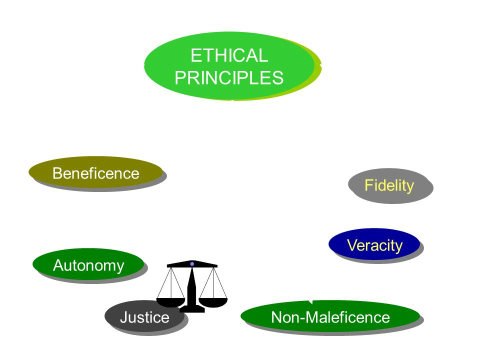 ETHICAL PRINCIPLES Beneficence Autonomy Justice Non-Maleficence Veracity Fidelity