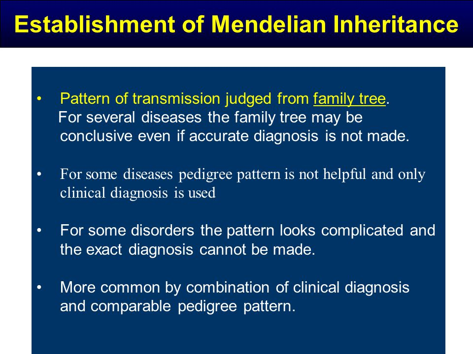 Pattern of transmission judged from family tree. For several diseases the family tree may be conclusive even if accurate diagnosis is not made. For so