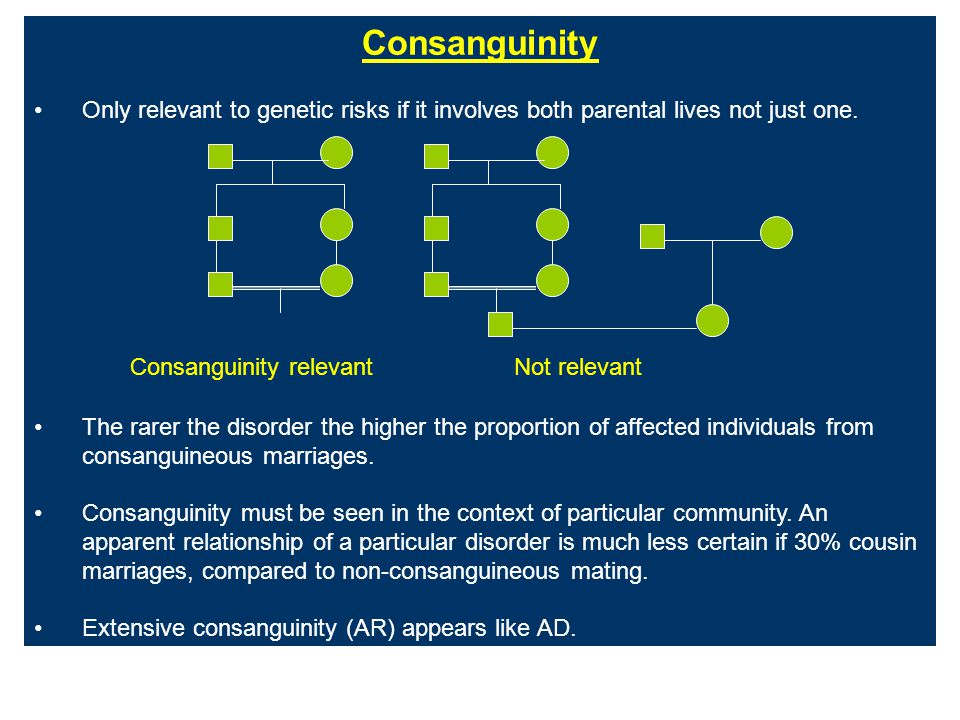 Consanguinity Only relevant to genetic risks if it involves both parental lives not just one. Consanguinity relevantNot relevant The rarer the disorde