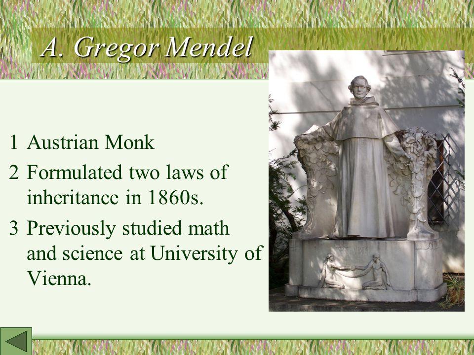 A. Gregor Mendel 1Austrian Monk 2Formulated two laws of inheritance in 1860s.