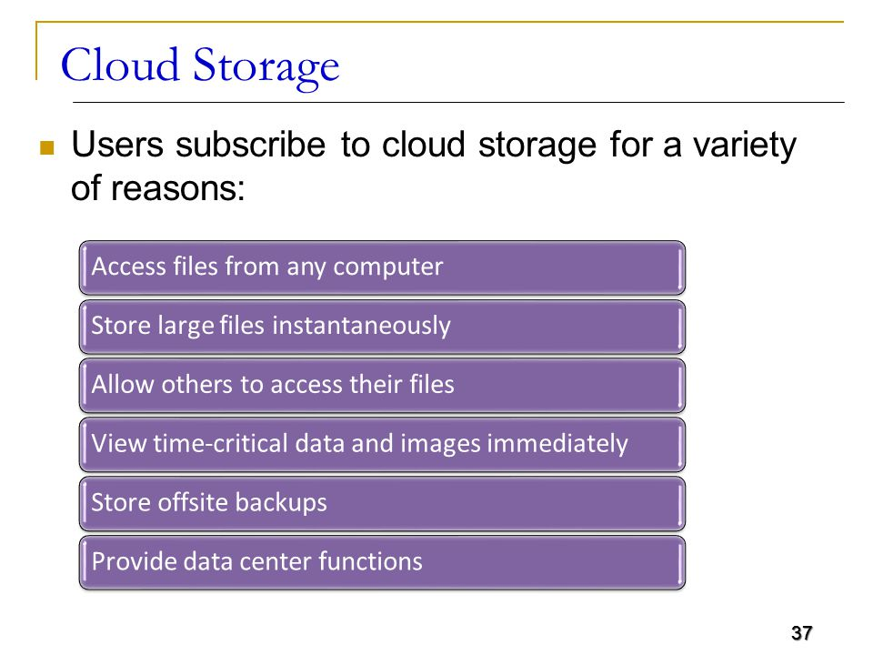 37 Users subscribe to cloud storage for a variety of reasons: 37 Access files from any computer Store large files instantaneously Allow others to acce