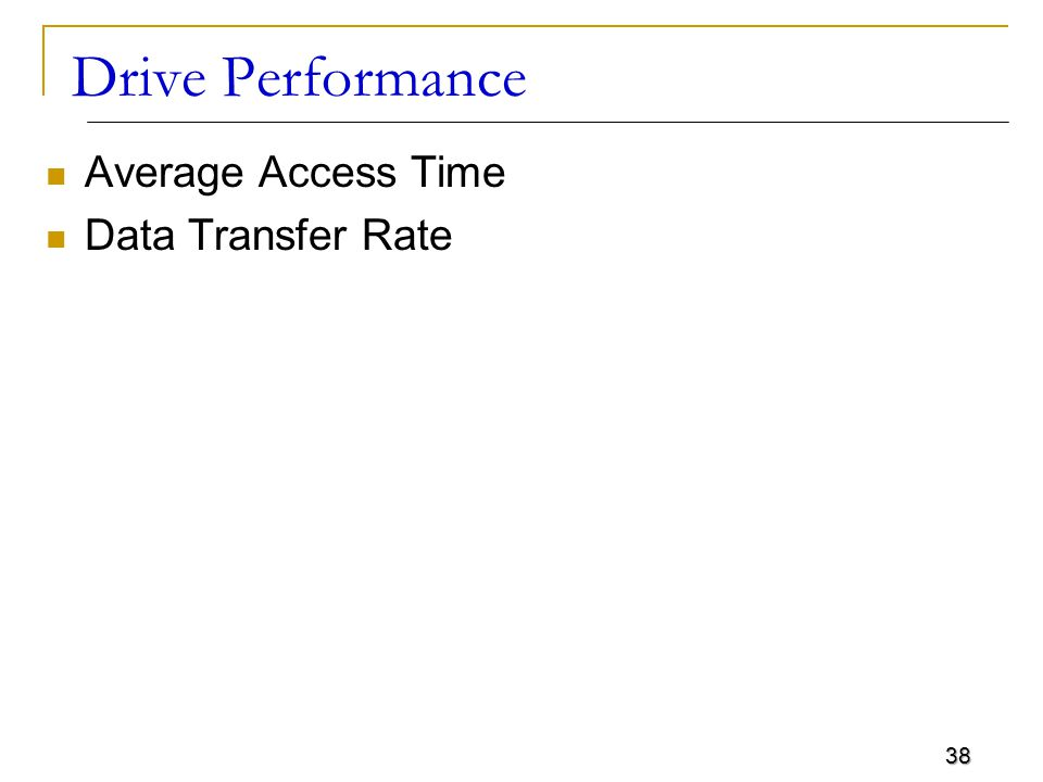 38 Drive Performance Average Access Time Data Transfer Rate