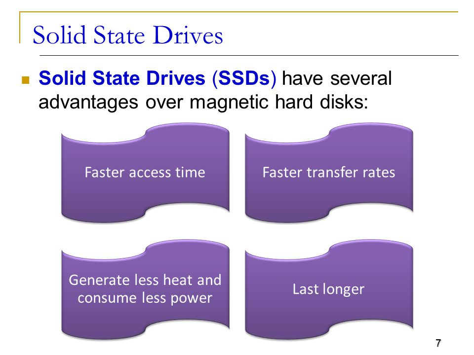 7 Solid State Drives Solid State Drives (SSDs) have several advantages over magnetic hard disks: Faster access time Faster transfer rates Generate less heat and consume less power Last longer