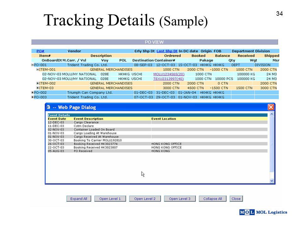 34 Tracking Details (Sample) 34