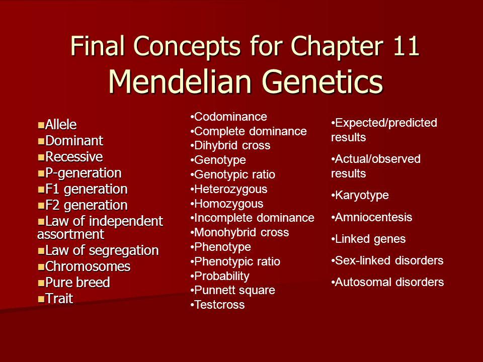 Final Concepts for Chapter 11 Mendelian Genetics Allele Allele Dominant Dominant Recessive Recessive P-generation P-generation F1 generation F1 genera