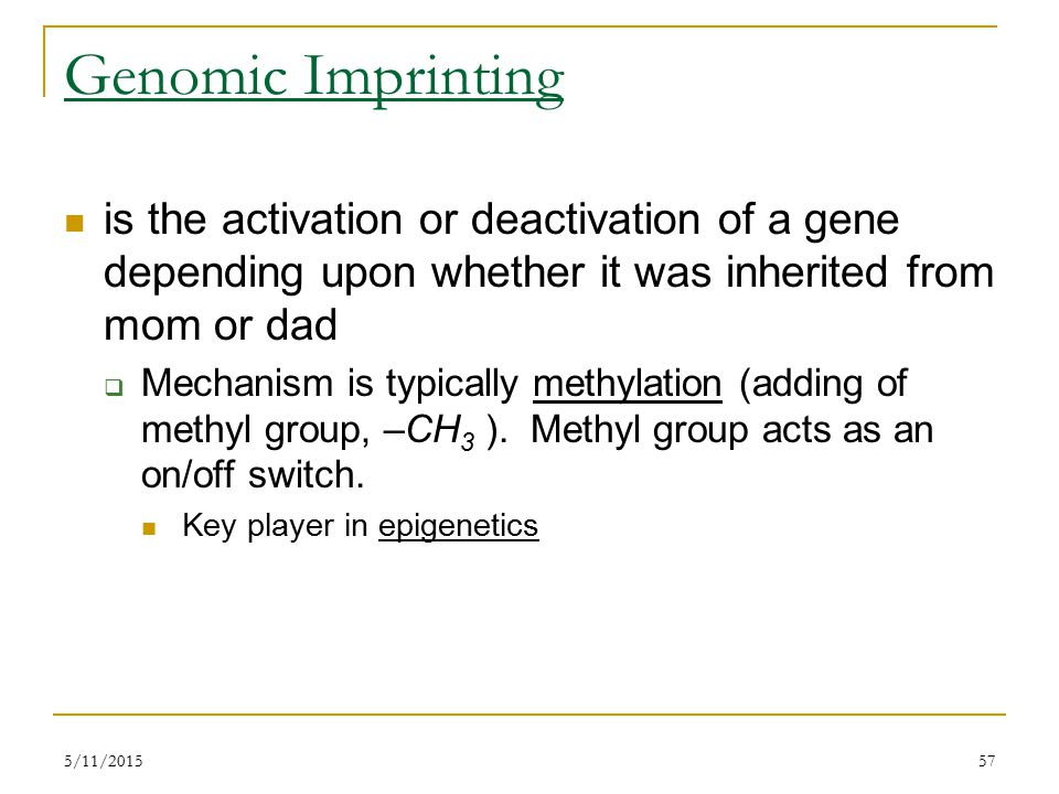Genomic Imprinting is the activation or deactivation of a gene depending upon whether it was inherited from mom or dad  Mechanism is typically methylation (adding of methyl group, –CH 3 ).