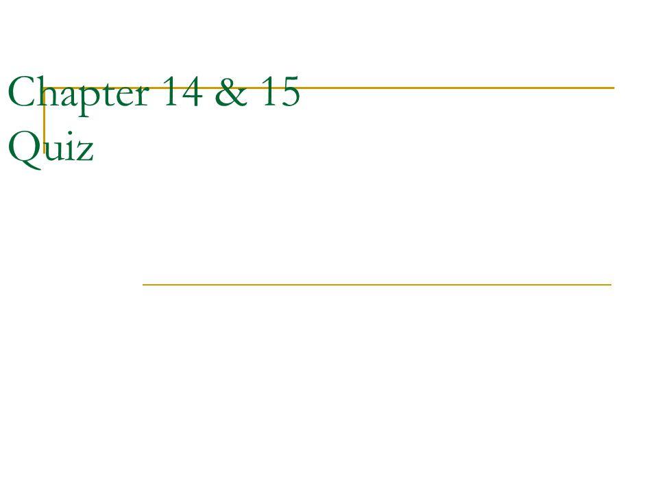 Chapter 14 & 15 Quiz