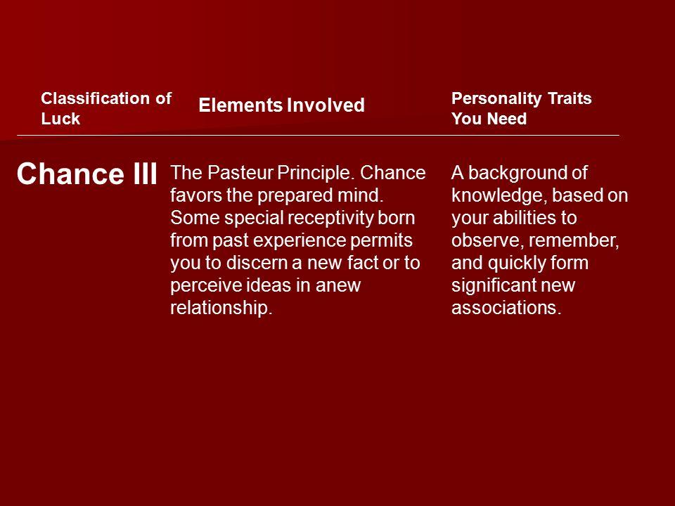 The Pasteur Principle. Chance favors the prepared mind.