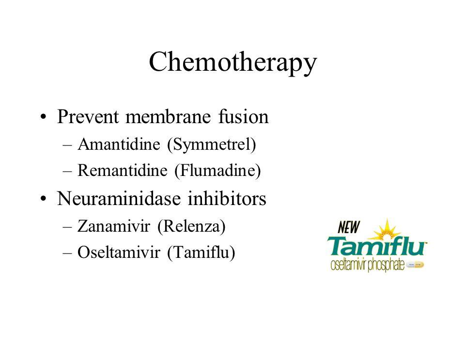 Chemotherapy Prevent membrane fusion –Amantidine (Symmetrel) –Remantidine (Flumadine) Neuraminidase inhibitors –Zanamivir (Relenza) –Oseltamivir (Tami