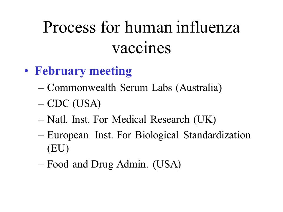 Process for human influenza vaccines February meeting –Commonwealth Serum Labs (Australia) –CDC (USA) –Natl.