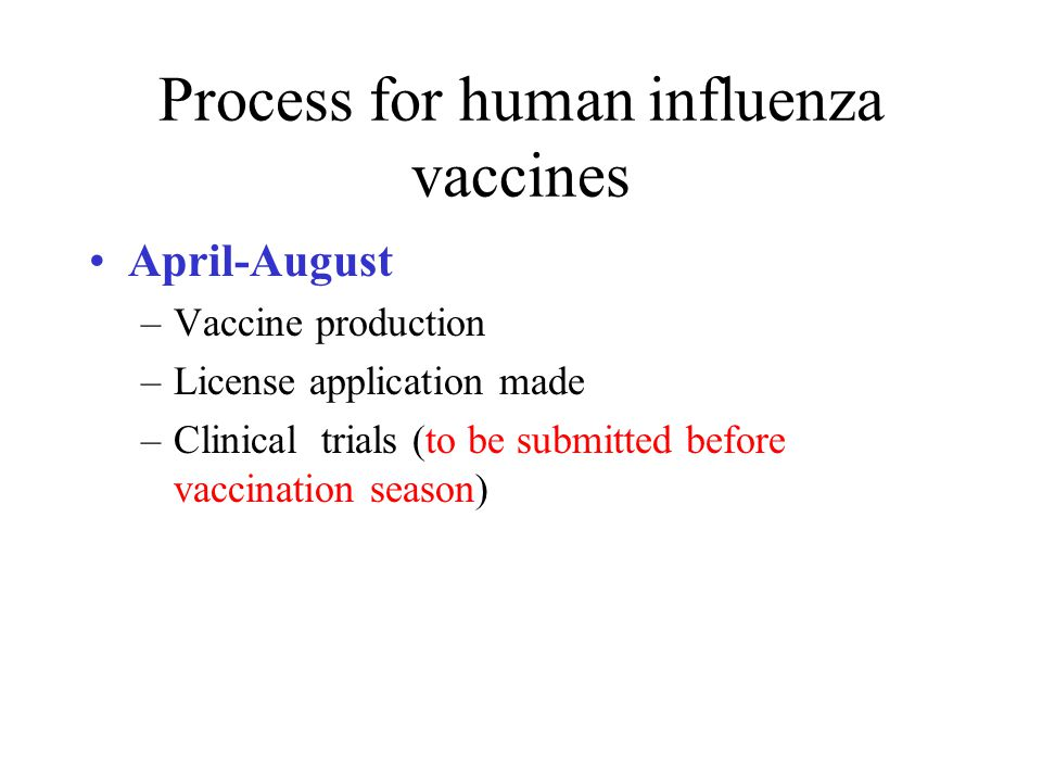 Process for human influenza vaccines August-September –Distribution begins