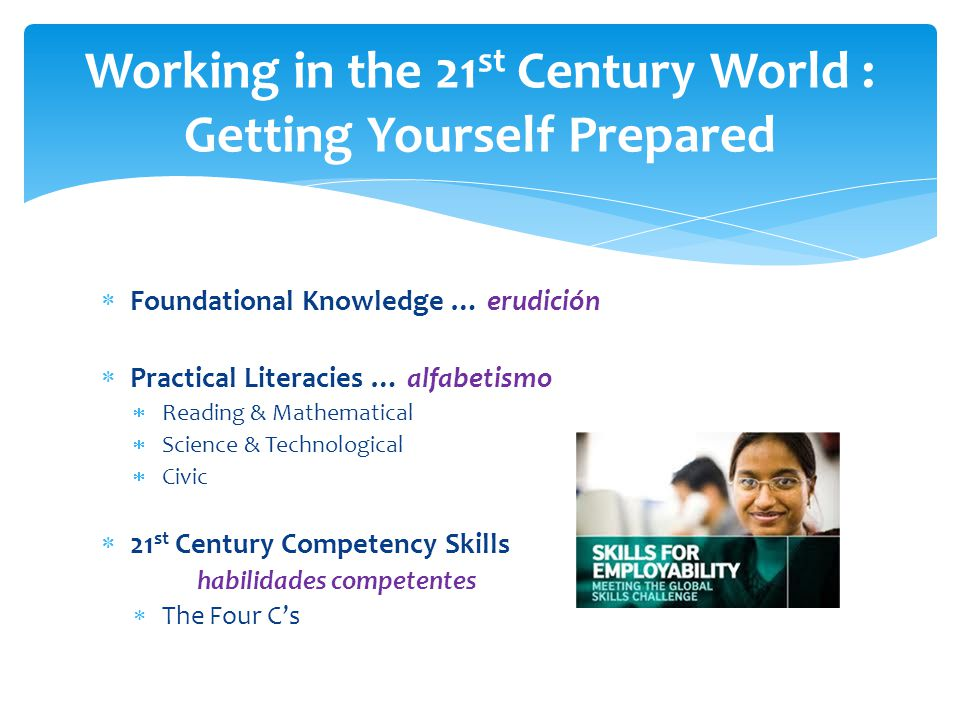  Foundational Knowledge … erudición  Practical Literacies … alfabetismo  Reading & Mathematical  Science & Technological  Civic  21 st Century Competency Skills habilidades competentes  The Four C's Working in the 21 st Century World : Getting Yourself Prepared