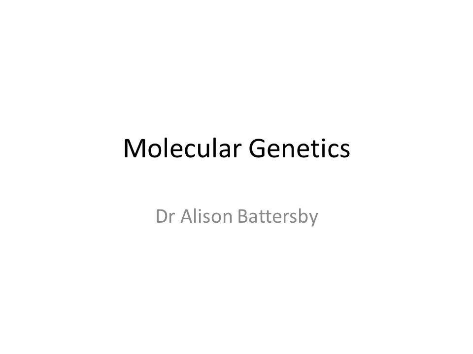Molecular Genetics Dr Alison Battersby