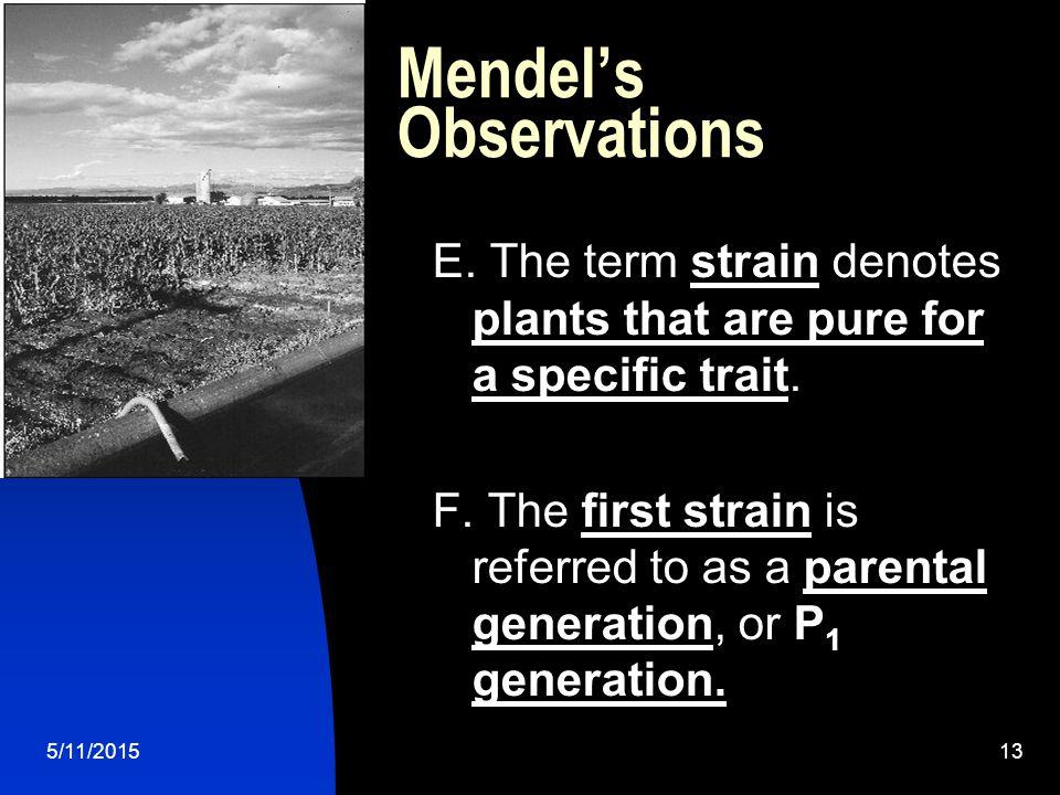 5/11/201513 Mendel's Observations E.