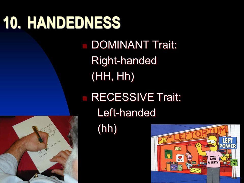 5/11/201547 10.HANDEDNESS DOMINANT Trait: DOMINANT Trait: Right-handed Right-handed (HH, Hh) RECESSIVE Trait: RECESSIVE Trait: Left-handed Left-handed (hh) (hh)