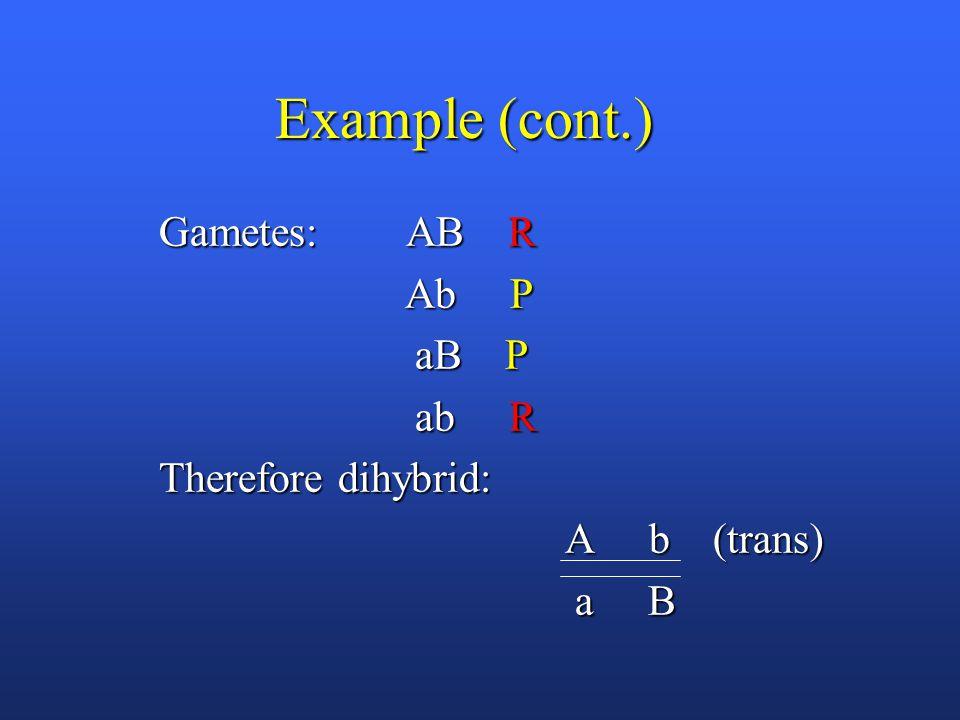 Example (cont.) Gametes: AB R Gametes: AB R Ab P Ab P aB P aB P ab R ab R Therefore dihybrid: Therefore dihybrid: A b (trans) A b (trans) a B a B