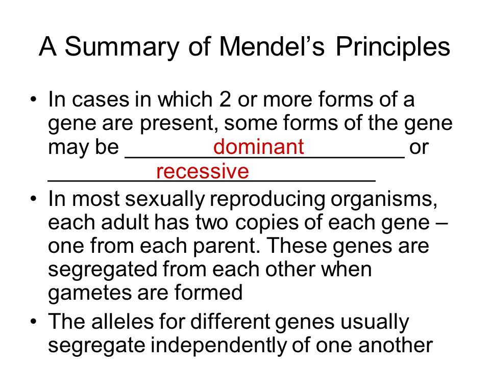 A Summary of Mendel's Principles In cases in which 2 or more forms of a gene are present, some forms of the gene may be _______________________ or ___