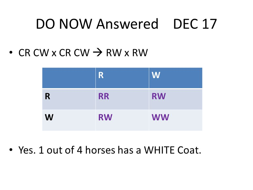 DO NOW Answered DEC 17 CR CW x CR CW  RW x RW Yes.