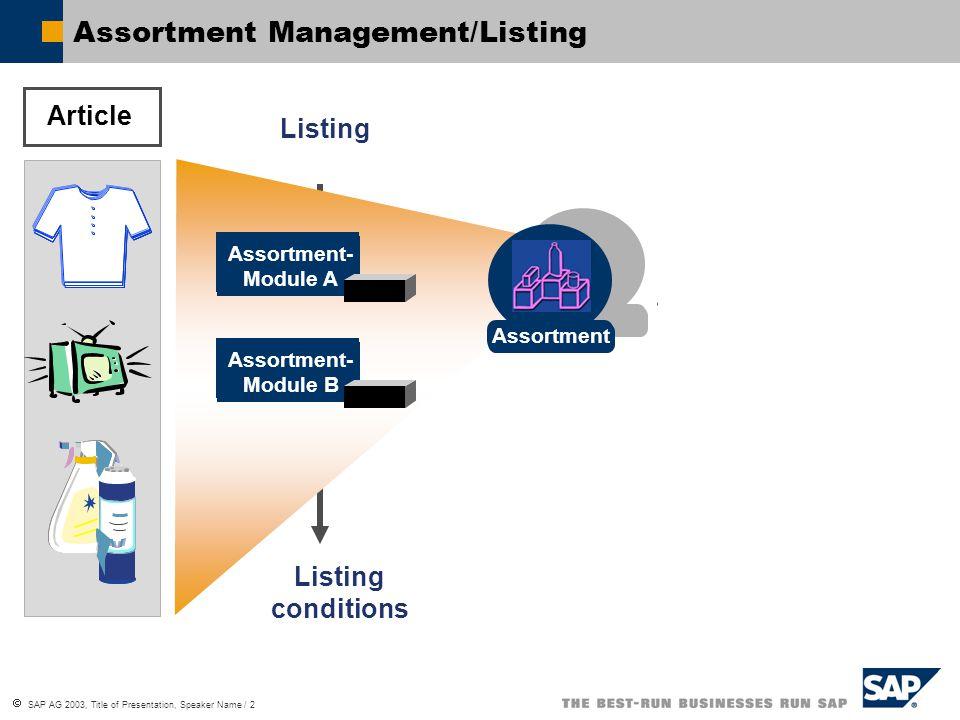  SAP AG 2003, Title of Presentation, Speaker Name / 2 Assortment Management/Listing Article Assortment- Module A Assortment- Module B Listing conditions Assortment