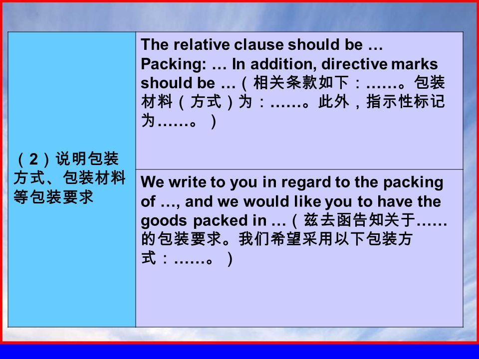 ( 2 )说明包装 方式、包装材料 等包装要求 The relative clause should be … Packing: … In addition, directive marks should be … (相关条款如下: …… 。包装 材料(方式)为: …… 。此外,指示性标记 为 …… 。) We write to you in regard to the packing of …, and we would like you to have the goods packed in … (兹去函告知关于 …… 的包装要求。我们希望采用以下包装方 式: …… 。)