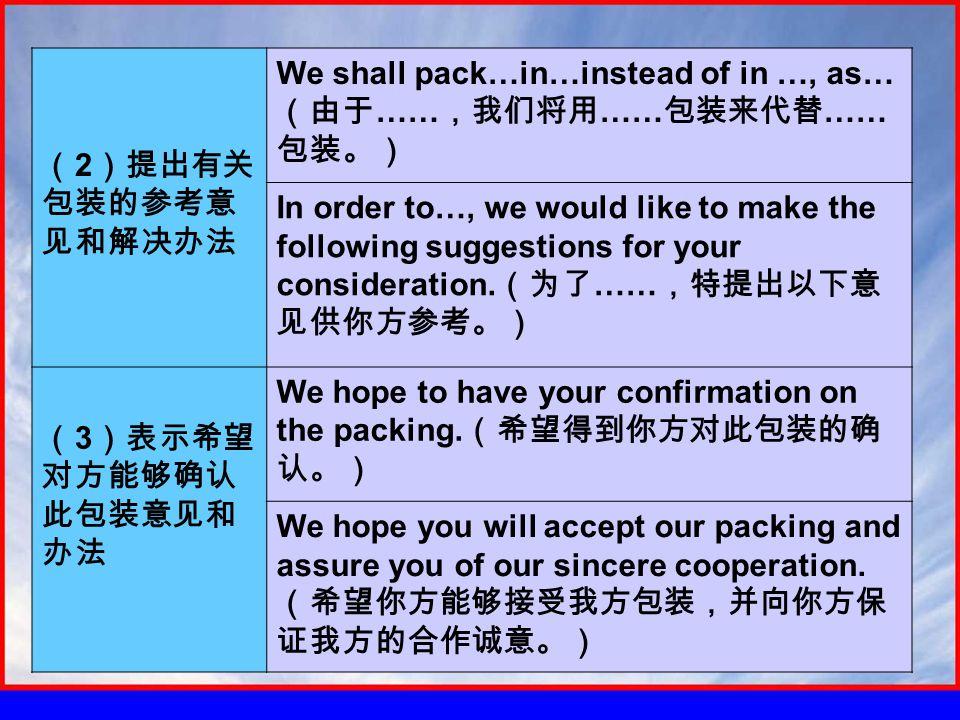 ( 2 )提出有关 包装的参考意 见和解决办法 We shall pack…in…instead of in …, as… (由于 …… ,我们将用 …… 包装来代替 …… 包装。) In order to…, we would like to make the following suggestions for your consideration.