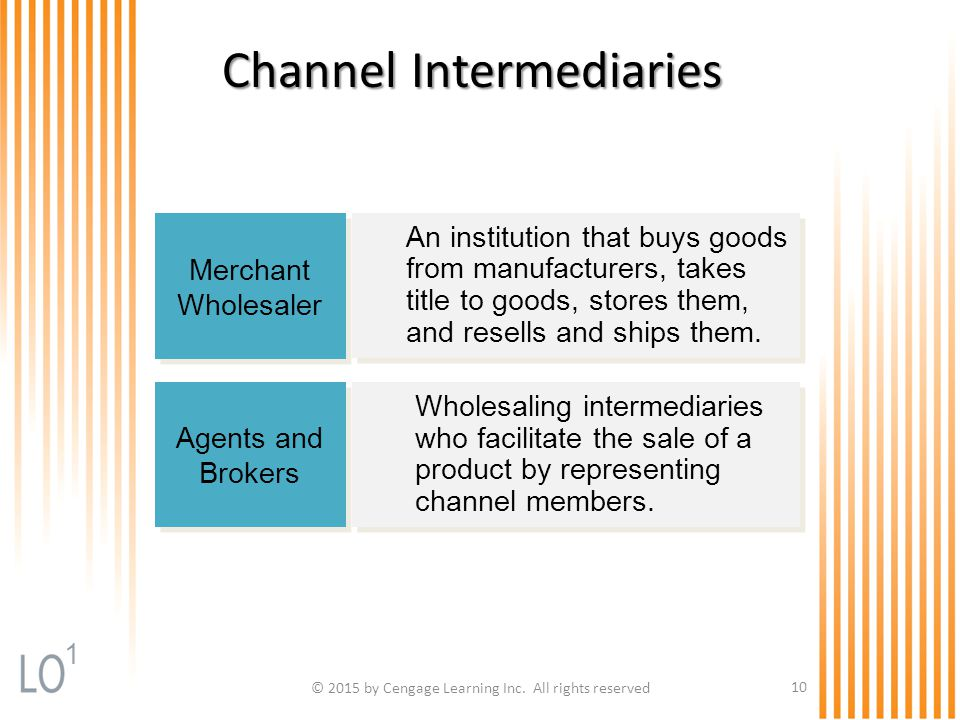 © 2015 by Cengage Learning Inc. All rights reserved 10 Channel Intermediaries Merchant Wholesaler Merchant Wholesaler An institution that buys goods f