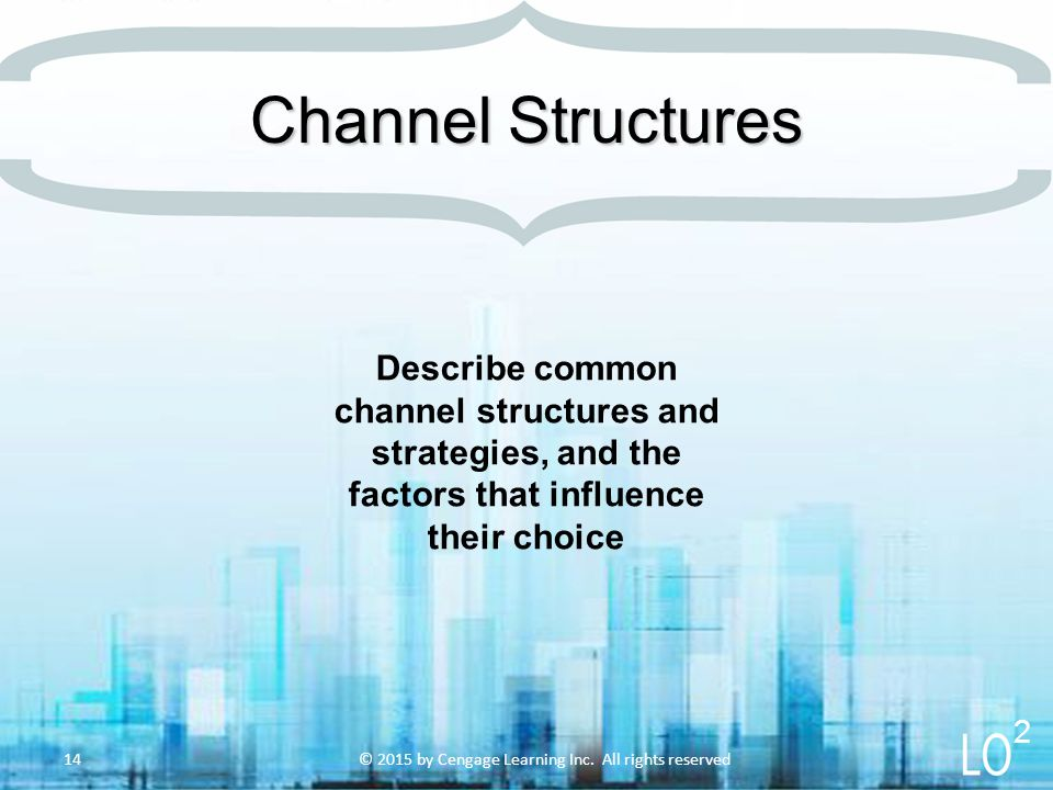 Describe common channel structures and strategies, and the factors that influence their choice © 2015 by Cengage Learning Inc. All rights reserved14 C
