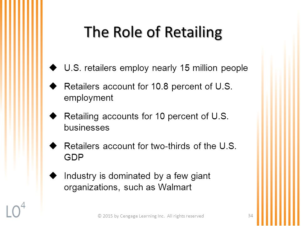 © 2015 by Cengage Learning Inc. All rights reserved 34 The Role of Retailing  U.S. retailers employ nearly 15 million people  Retailers account for