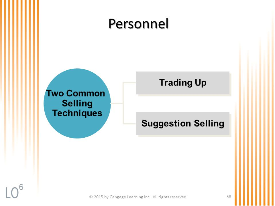 © 2015 by Cengage Learning Inc. All rights reserved 58 Personnel Suggestion Selling Trading Up Two Common Selling Techniques 6