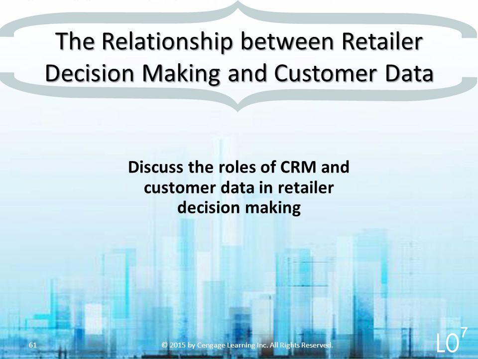 The Relationship between Retailer Decision Making and Customer Data © 2015 by Cengage Learning Inc. All Rights Reserved.61 Discuss the roles of CRM an