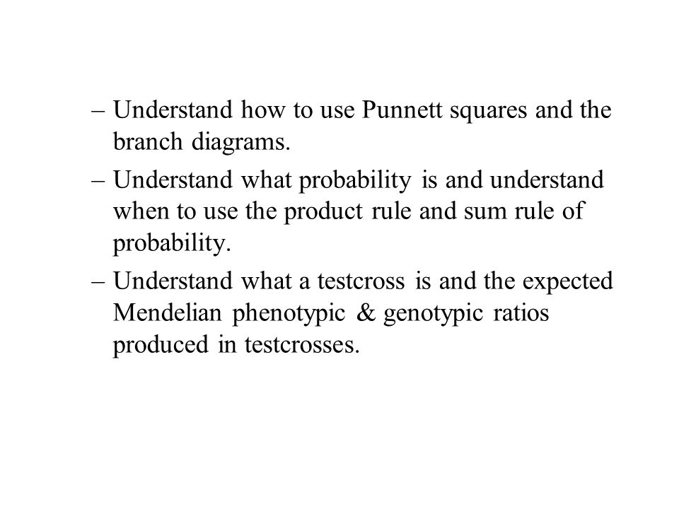 –Understand how to use Punnett squares and the branch diagrams. –Understand what probability is and understand when to use the product rule and sum ru