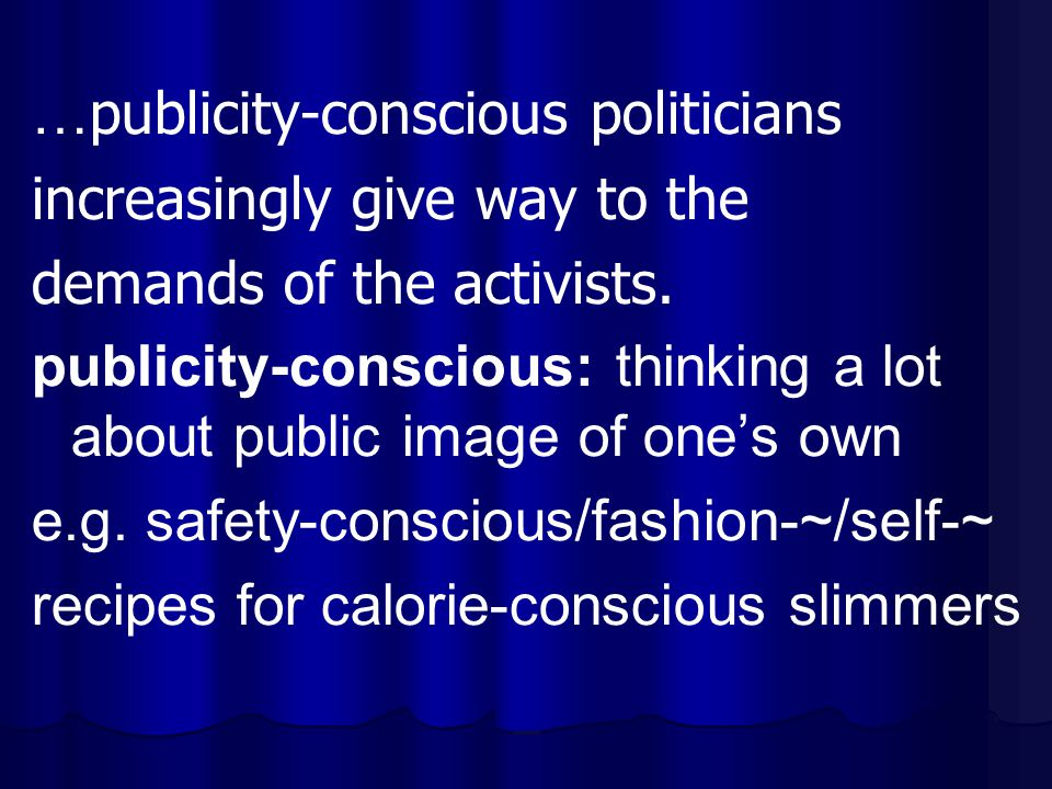 … publicity-conscious politicians increasingly give way to the demands of the activists. publicity-conscious: thinking a lot about public image of one