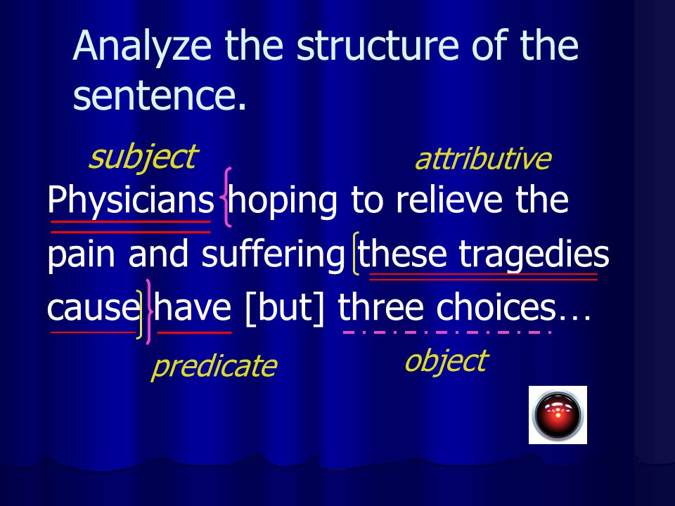 Analyze the structure of the sentence. Physicians hoping to relieve the pain and suffering these tragedies cause have [but] three choices … subject pr