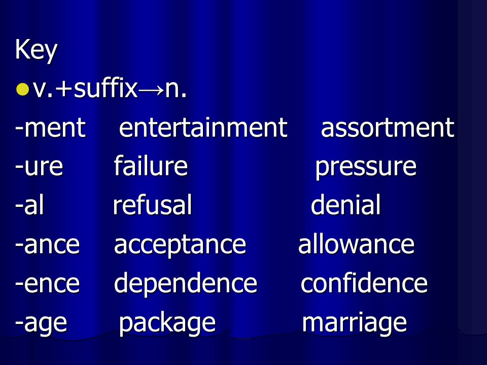 Key v.+suffix → n. v.+suffix → n. -ment entertainment assortment -ure failure pressure -al refusal denial -ance acceptance allowance -ence dependence