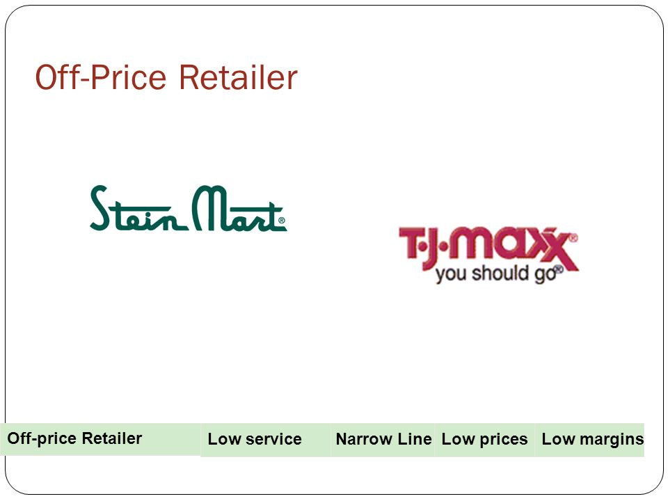 Off-Price Retailer Narrow Line PricesLow pricesLow margins Off-price Retailer Low service