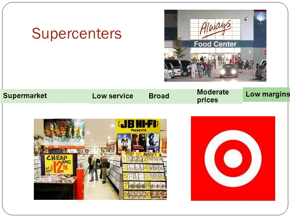 Supercenters Broad Moderate prices Low margins Supermarket Low service