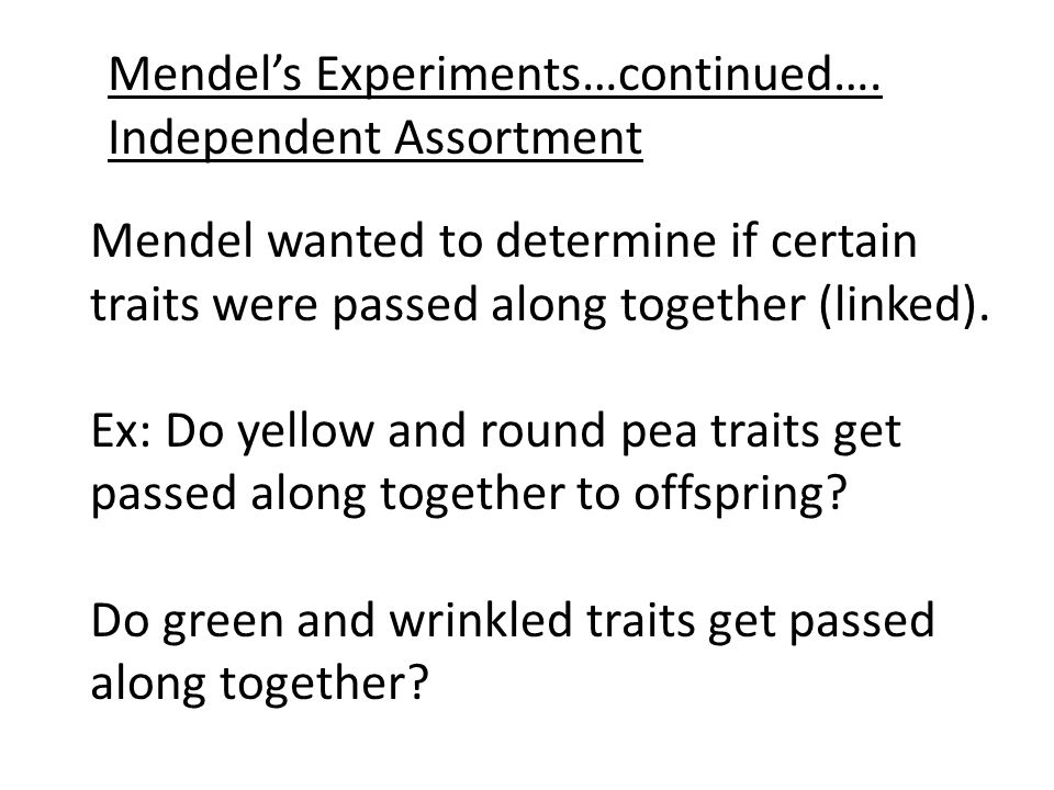 Mendel's Experiments…continued….