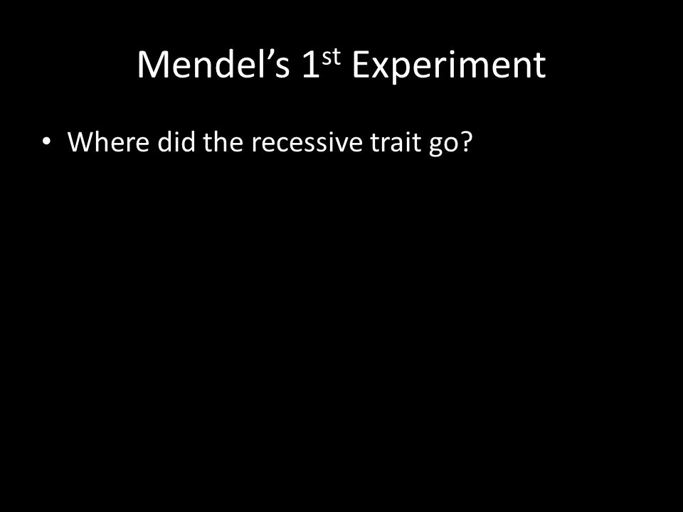 Mendel's 1 st Experiment Where did the recessive trait go