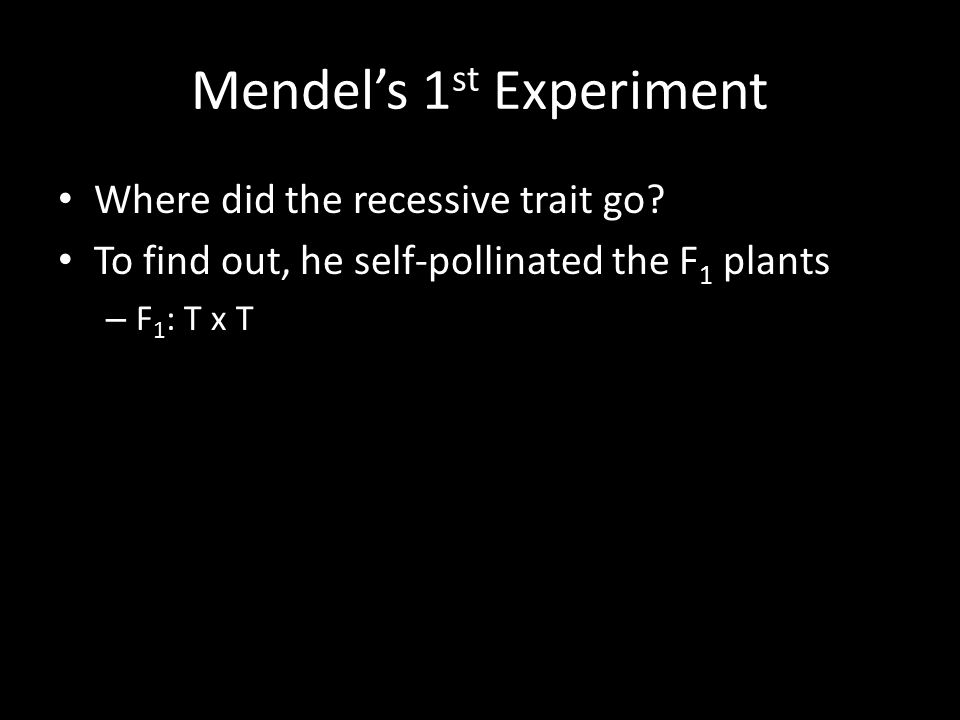 Mendel's 1 st Experiment Where did the recessive trait go.