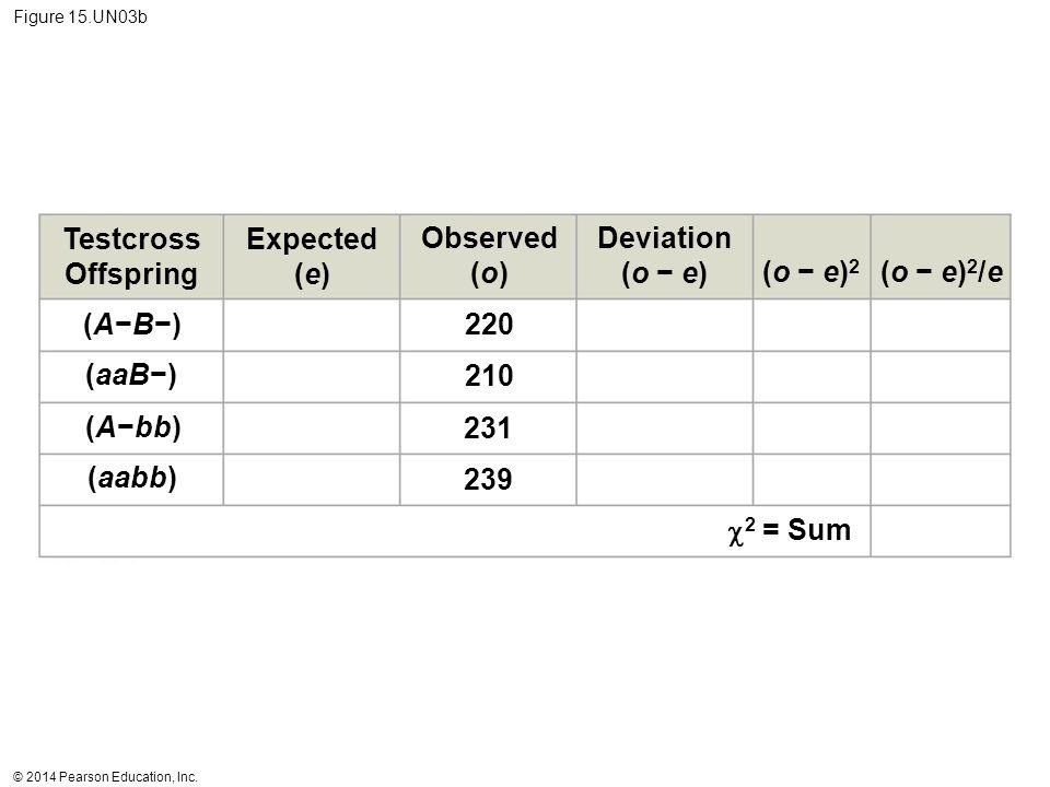 © 2014 Pearson Education, Inc. Figure 15.UN03b Testcross Offspring Expected (e) Observed (o) Deviation (o − e) (o − e)2(o − e)2 (o − e)2/e(o − e)2/e (
