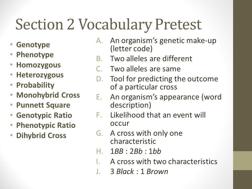 Section 2 Vocabulary Pretest Genotype Phenotype Homozygous Heterozygous Probability Monohybrid Cross Punnett Square Genotypic Ratio Phenotypic Ratio D