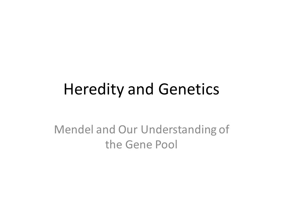 Heredity and Genetics Mendel and Our Understanding of the Gene Pool
